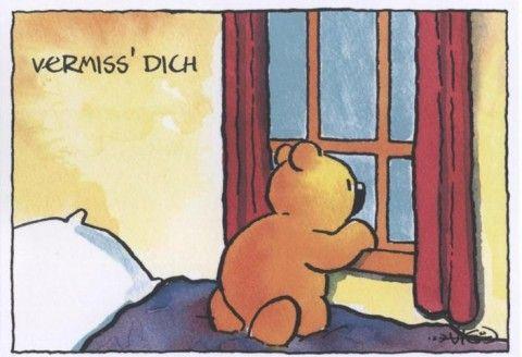 Jan Vis Cartoon Postkarte Liebe: Vermisse Dich