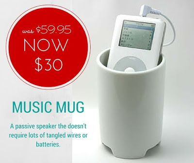 Musci Mug NOW $30 (was $59.95) - a simple way to amplify your favourite tunes. #musicmug #musicspeaker #mensgifts