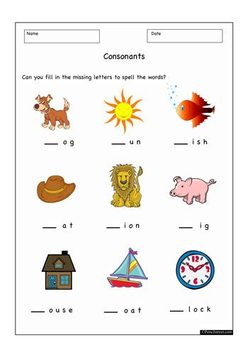 Worksheet Resource = 10-1023 Phonics initial sounds worksheet. Fill in ...