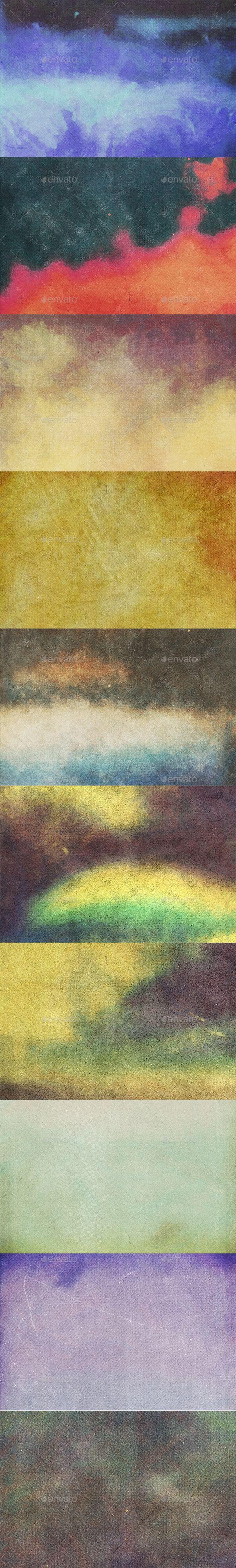 10 Vintage Halftone #Watercolor Textures - #Art #Textures