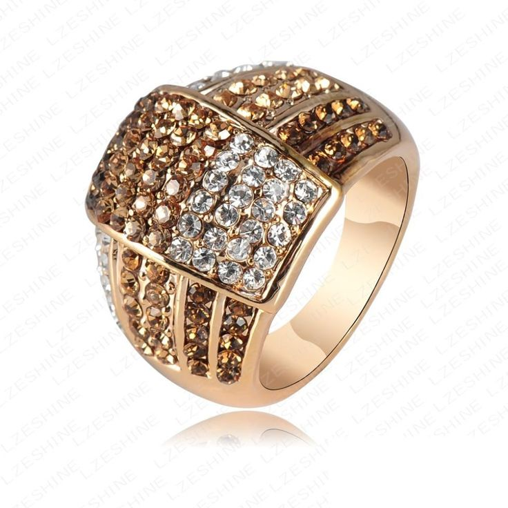 Trendy New Jewellery Gold Plated Rings For Women Made With Genuine Element Austrian Crystal Engagement Rings Anel Ri-HQ0020