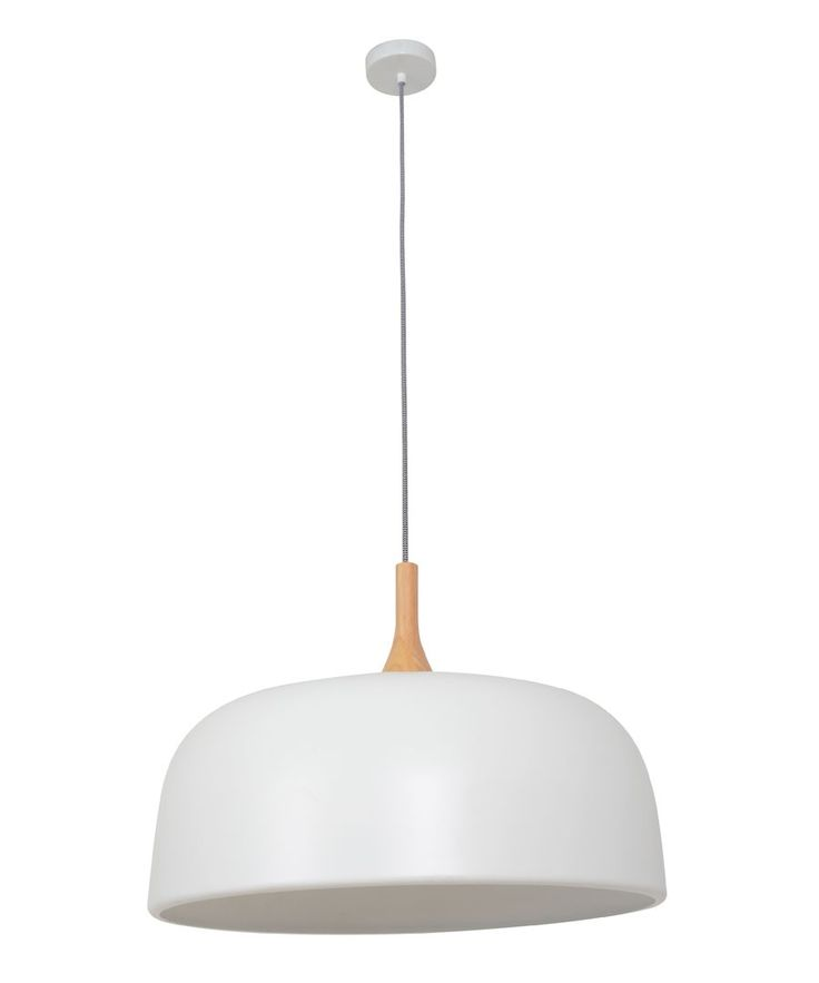 Beacon Lighting - Sunraysia 1 light 520mm pendant in matt white with ash wood
