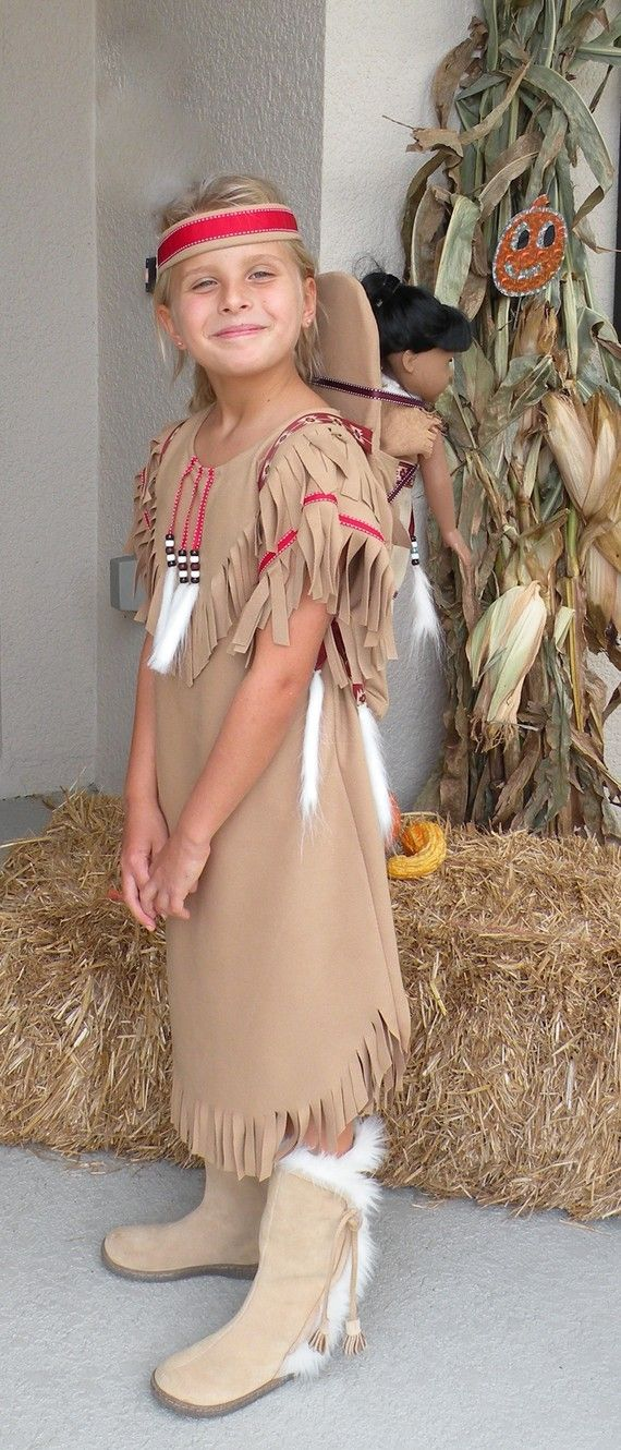 Native American Girl Indian pretend dress up fun  Costume for children toddler size 12 -18 month