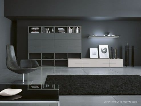 Black and Gray luxury furniture living room design