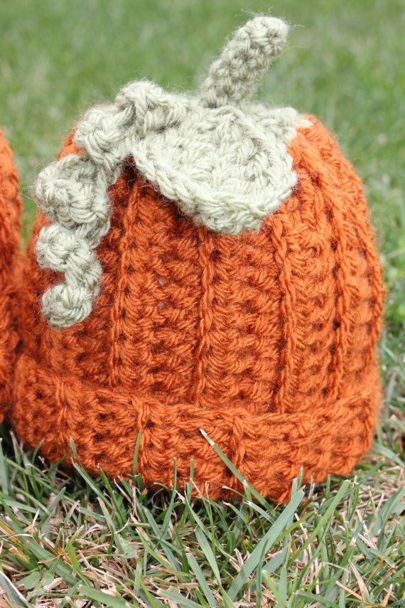 Kürbis-Beanies-häkeln-Kürbis-Hut Hüte für von SkeinandHook auf Etsy
