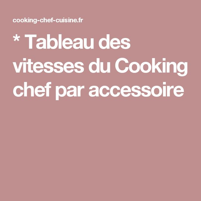 * Tableau des vitesses du Cooking chef par accessoire