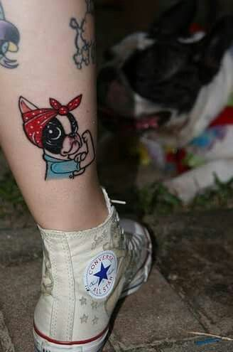 How cute is this boston terrier tattoo- Rosie the Riveter by doggie drawings