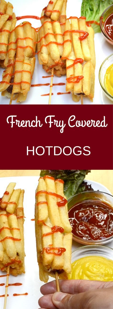 This recipe for French Fry Covered Hot Dogs is unbelievably tasty and fun to make. To make them, you simply put hot dogs on a stick and coat them into corn dog batter. Then you press on french fries before a visit to the deep fryer. They are great for sharing and sure to strike up conversation at your next party!