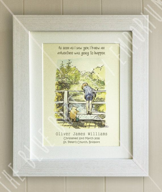 PERSONALISED Winnie the Pooh Christening Quote Print, New Baby, Nursery Picture Gift, Pooh Bear, *UNFRAMED* Beautiful Gift, Bridge