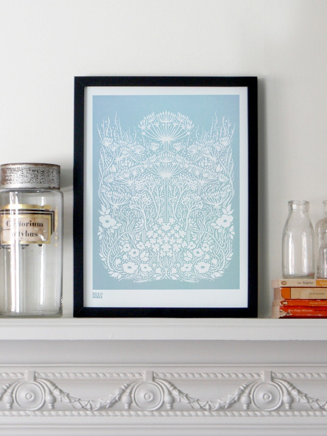 Meadow in Duck Egg Blue - decorative screen print. $53.00, via Etsy.