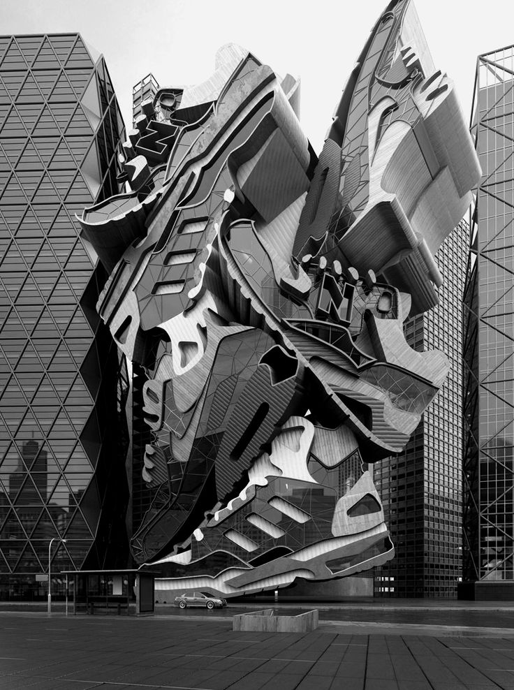 "This is an art installation in UK, called ""Sneaker Tectonic."" Done by artist Chris Labrooy. Looks like a monumental-scale sculpture of enormous stacked sneakers, but is actually an incredibly convincing 3D graphic.."