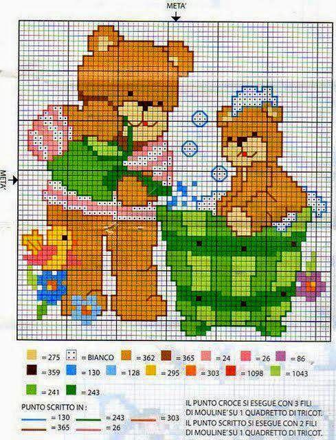 Oltre 25 fantastiche idee su orsetti per bambini su for Ricami punto croce per neonati