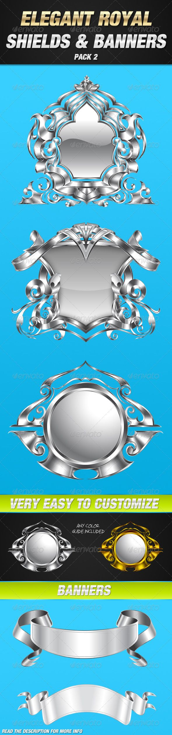 Elegant royal frame with crown vector colourbox - Royal Shield And Banner Pack 2