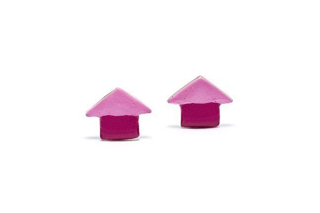 Boucles d'oreilles Pétunia, une maisonnette colorée et rigolote.