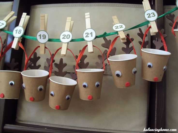 DIY Advent Calendar using paper cups and common craft supplies.