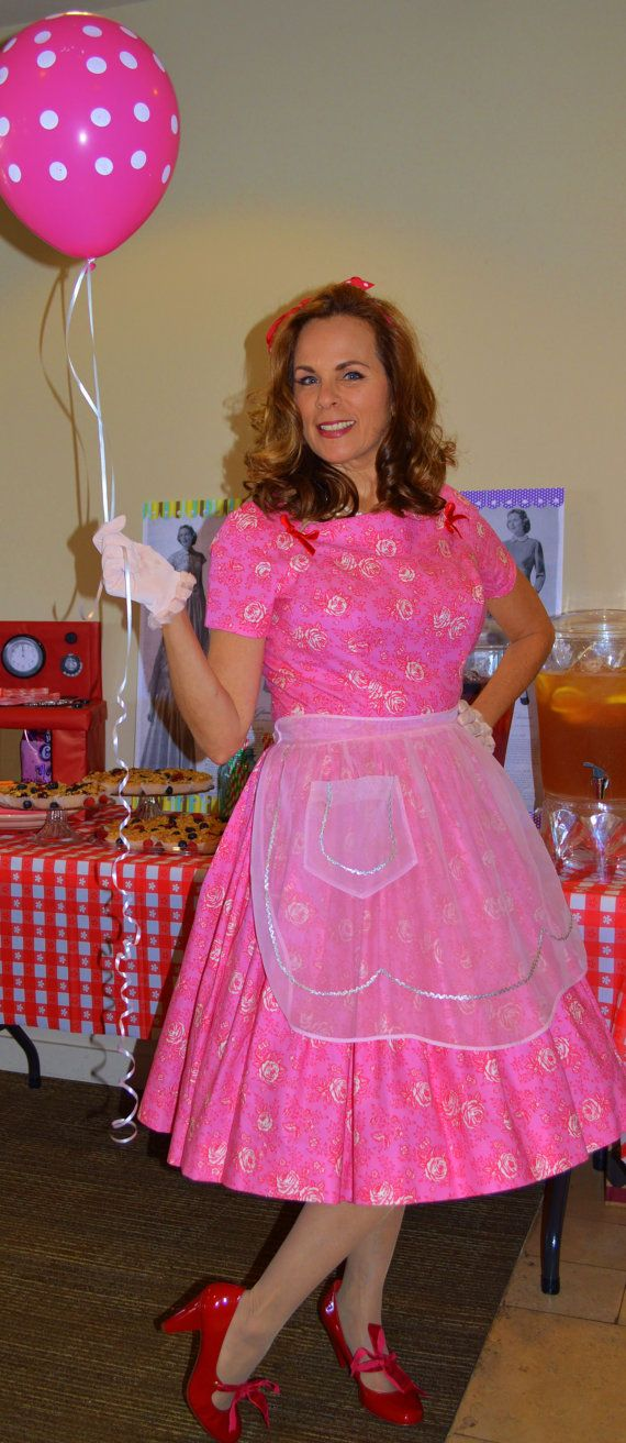 50 S Housewife Pink Dress Handmade From Authentic By