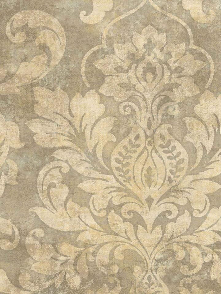 Interior Place - Dark Beige Plaster Damask Wallpaper, $29.99…