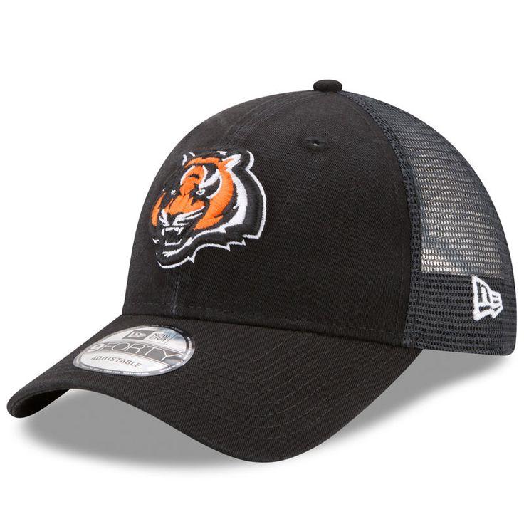 Cincinnati Bengals New Era Trucker Washed 9FORTY Adjustable Hat - Black