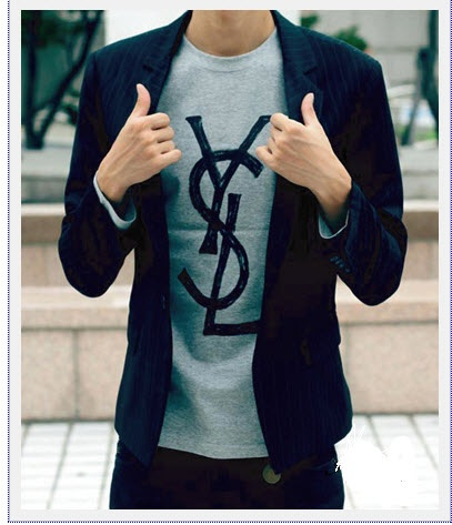 17 best images about t shirt with sports jacket on for Yves saint laurent logo shirt