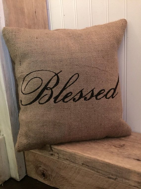 Blessed Pillow Burlap Pillow Rustic Decor Decorative by Meyberry