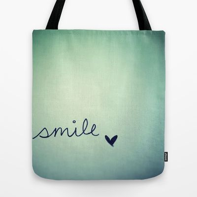s  m  i  l  e  Tote Bag by Rubybirdie - $22.00