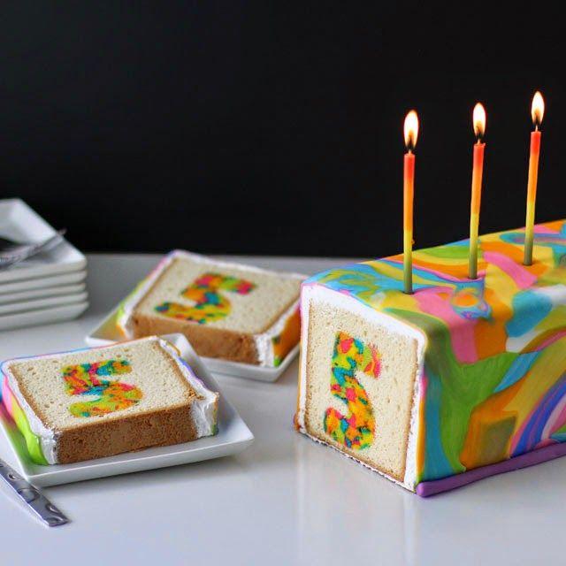Rainbow Tie-Dye Surprise Cake. Very cool!