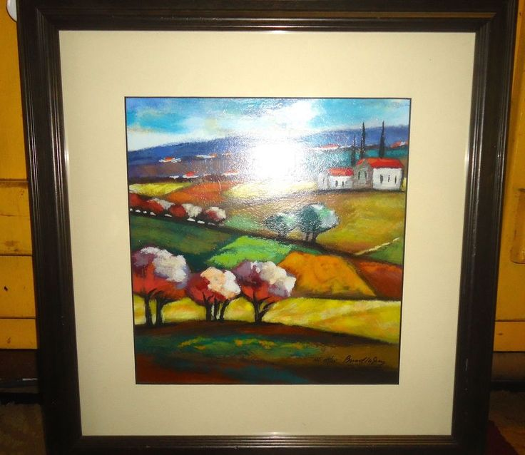 Limited Edition Serigraph Print Framed Matted Under Glass Landscape Signed No 3 #Expressionism
