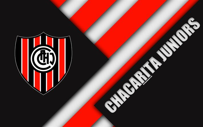 Download wallpapers Chacarita Juniors, material design, red black abstraction, Argentinian football club, 4k, Villa Maip?, Argentina, football, Argentine Superleague, First Division
