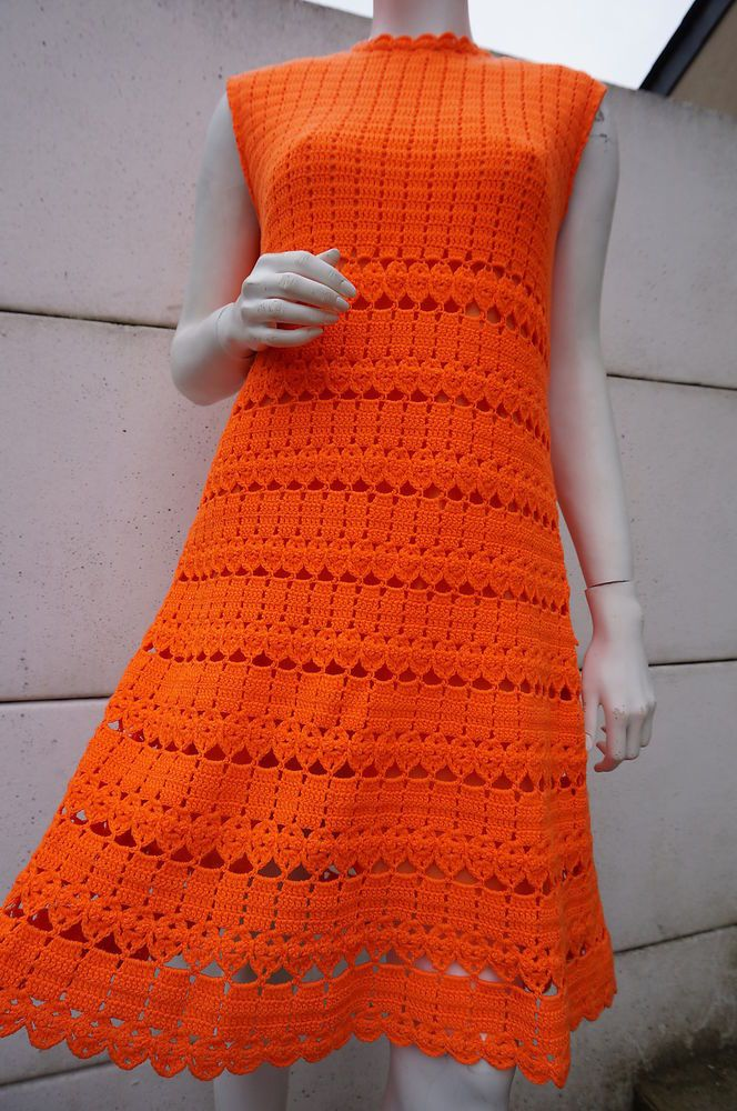 Robe CrOChet Vintage T 40 42 dress Vtg sEVenties twiggy trapeze orange Hippie