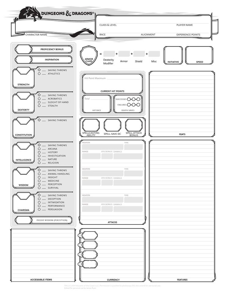 Dungeons and Dragons Character Sheets (Download)