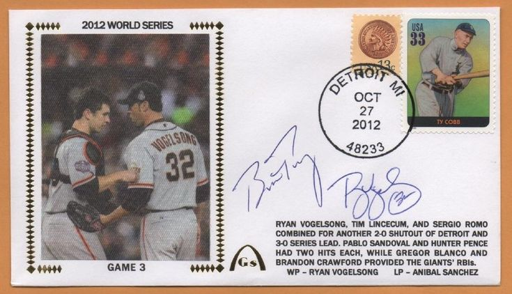 Buster Posey & R Vogelsong BLEM 2012 World Series Signed Gateway Stamp Envelope  #sfgiants #SanFranciscoGiants
