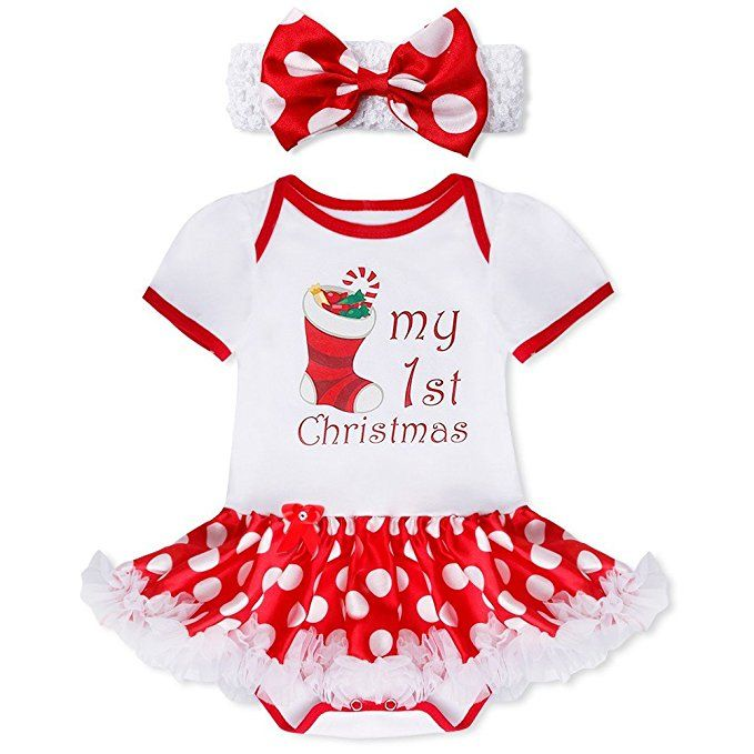 "FEESHOW Baby Girls ""My First Christmas"" Outfit Romper Tutu Dress with Headband White Xmas Stocking 3-6 Months"