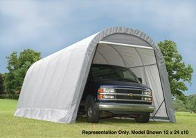 ShelterLogic 12-Ft.W Round-Style Instant Garage - 28ft.L x 12ft.W x 10ft.H, 1 5/8in. Frame, Grey, Model  902233 * You can get more details by clicking on the image.