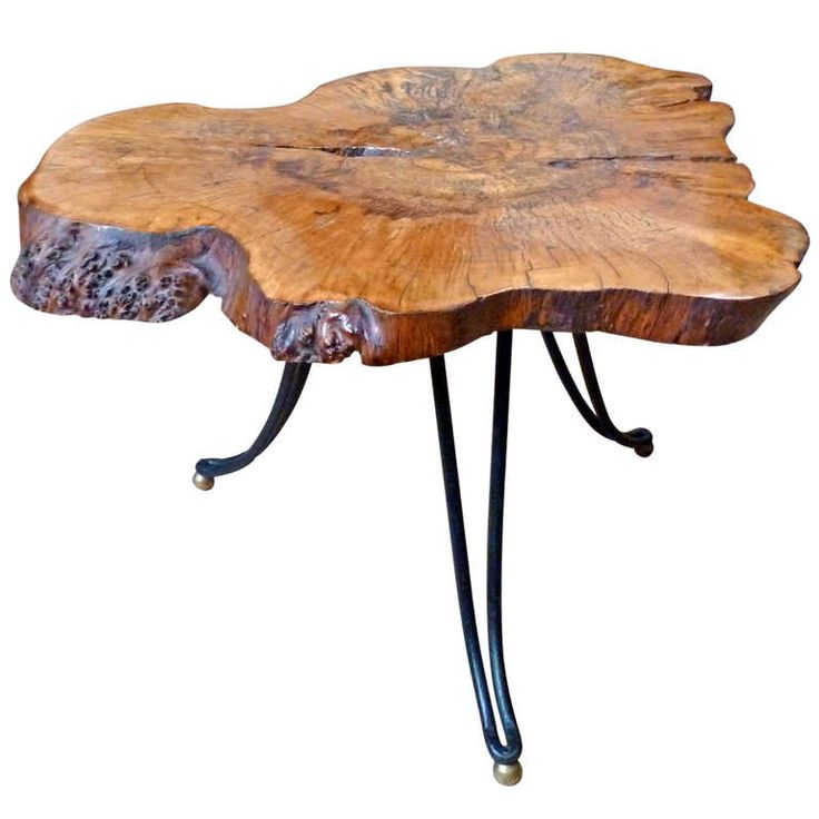 Tree Stump Table With Iron And Brass Legs