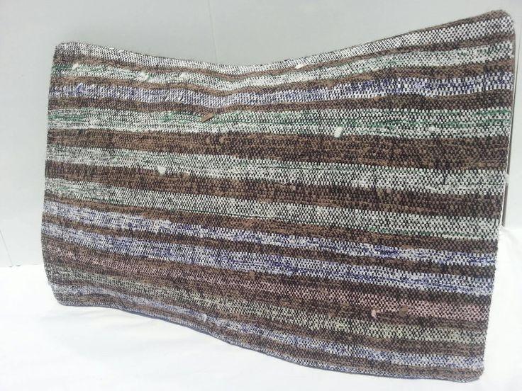 Kilim Lumbar Pillow, striped Kilim Pillow, wool cushion cover, Handwoven Decorative Turkish Kilim Pillow Lumbar, 16x24 inches by Simavrug on Etsy