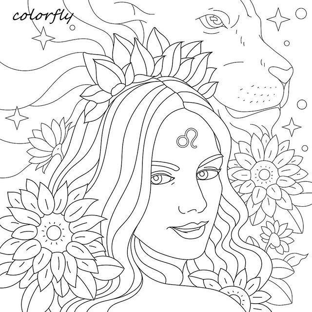 Colorfly Freebie Hands Up If You Are Leo Zodiac You Now Can Download And Print The Picture To Color On Your Free Flower Art Drawing Coloring Pictures Art
