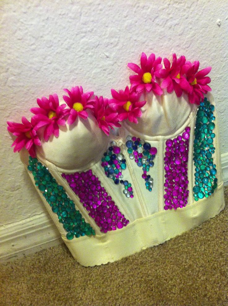 DIY rhinestones + flowers bustier I made for EDC Orlando!
