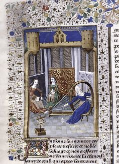 Miniature showing Antonia in her widowhood, spinning at her wheel while female attendants card and twist. Initial and border design. Boccaccio, Giovanni, 1313-1375