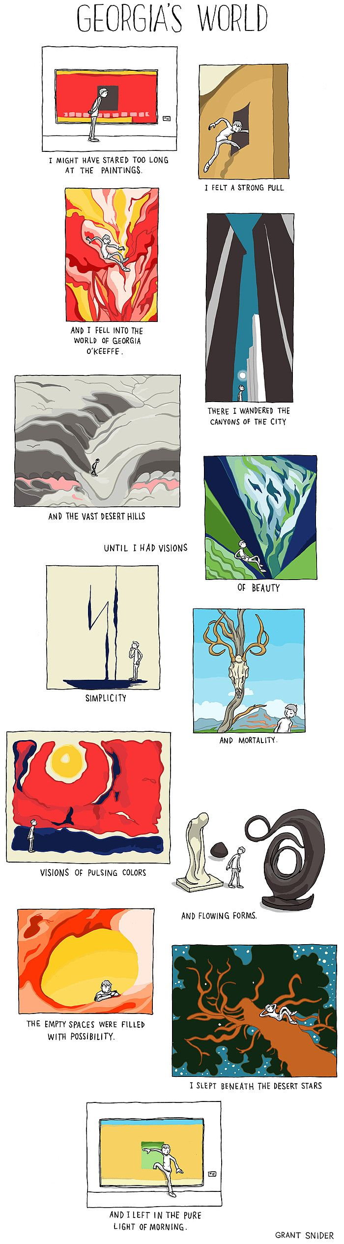 Grant Snider in Who Needs Art? Georgia's World : A journey through the paintings of Georgia O'Keeffe