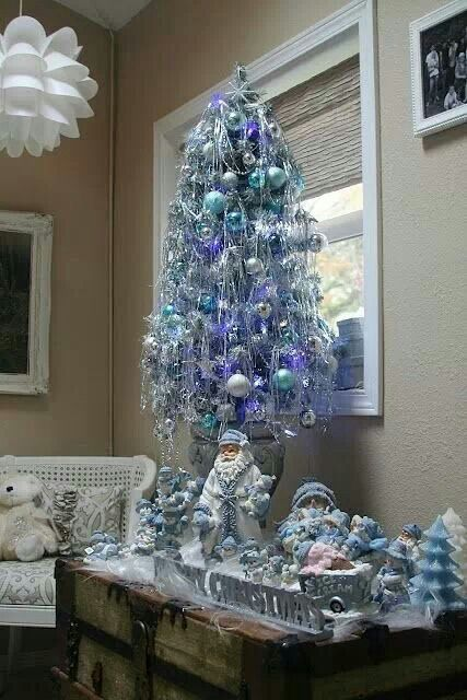 small tree with collection of snow buddies wishing you a blue christmas - Small Blue Christmas Tree