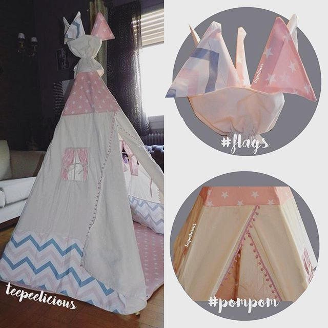 In ❤️ with this #teepee ⛺️ by #teepeelicious of course! Totally #girly plus #romantic plus #boho plus #vintage. In #pinkgrey with #flags  #topper and our #favorite #pink #pompom #playmat with #stars ⭐️#kidsroominterior #kidsroom #nurseryideas #partydecor #eventideas #eventplanner #madeingreece #handmade #customade #glamping