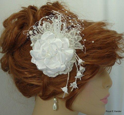 White Gardenia, Floral Hair Clip, Bridal Headpiece