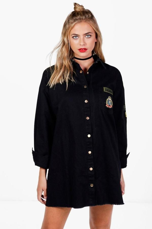 boohoo Hollie Military Shirt Dress