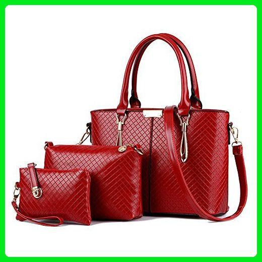 Flada 3 Pieces Top-handle Handbags For Women Ladies Shoulder Tote Purse Bags  Claret - Top handle bags ( Amazon Partner-Link)  100d5f107cd7c