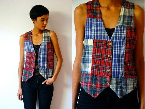 Vtg Mix Plaid Patchwork Button Down Flannel Vest by LuluTresors, $22.99