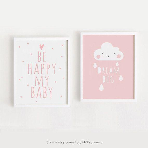 Printable Nursery Art Set of 2 Poster Baby Girls by ARTsopoomc