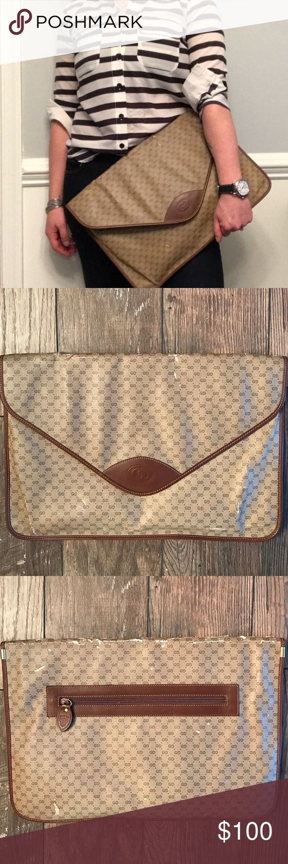 Vintage Gucci Large Envelope Clutch Vintage Gucci large envelope clutch! Such a fun accessory to carry your belongings in! Would be awesome for a hip business savvy gal to store her iPad or laptop!! Measures 11inx16.5 in! Shows wear as it is from the 60s or 70s! Controllato card shown in picture! Gucci Bags Clutches & Wristlets