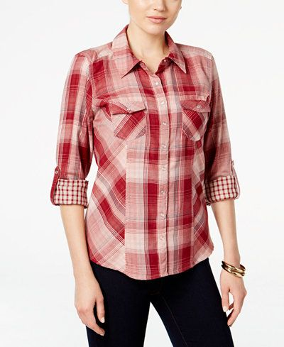 Style & Co. Plaid Utility Shirt, Only at Macy's