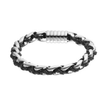 FOCUS+FOR+MEN+Stainless+Steel+&+Leather+Braided+Bracelet