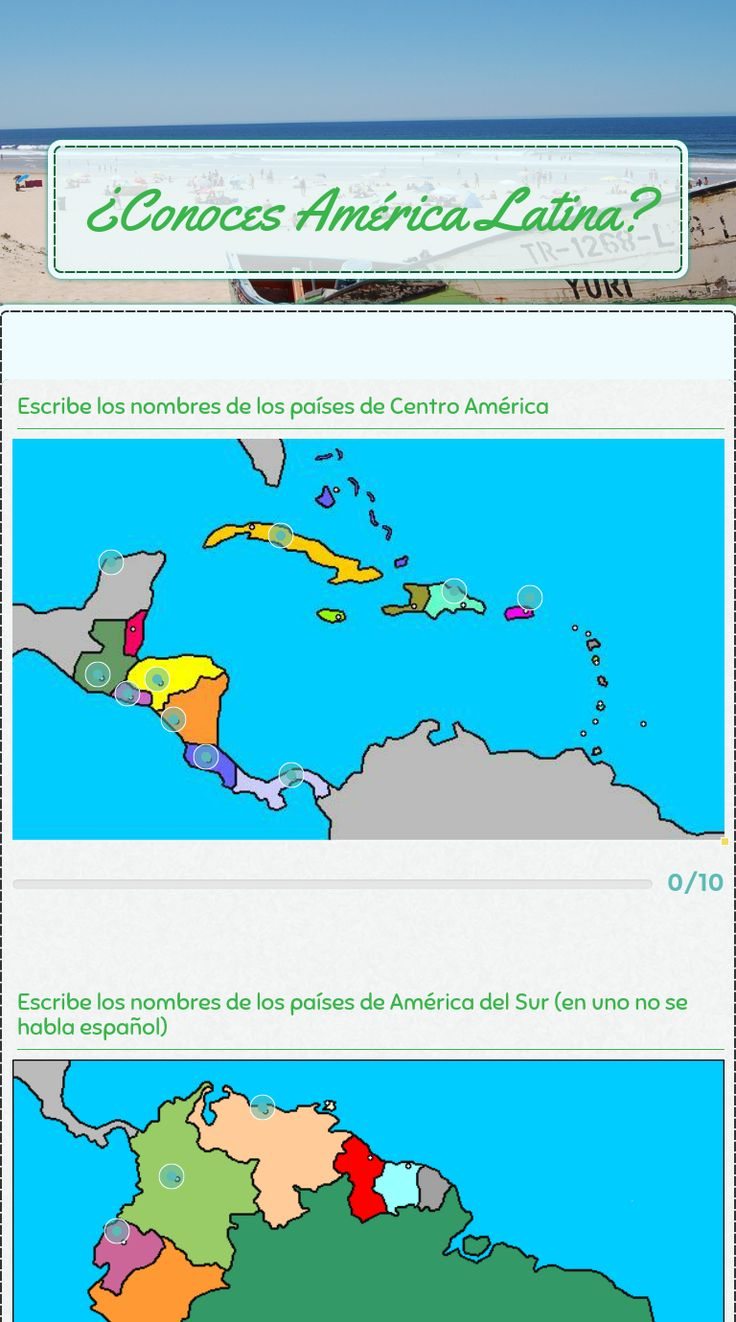 "Wizer.Me​ blended worksheet ""¿Conoces América Latina?"" ."